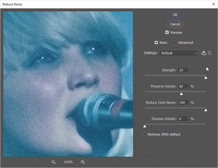 Screenshop of how to adjust the three sliders – Strength, Reduce Color Noise, and Sharpen Details on Photoshop for photo retouching