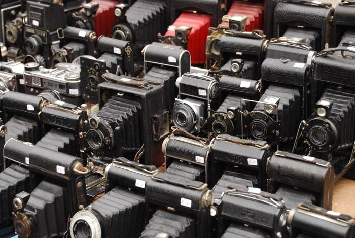 A big collection of antique cameras