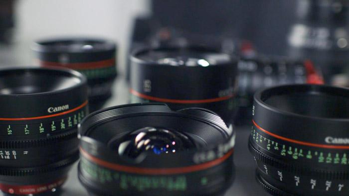 A group of DSLR camera lenses