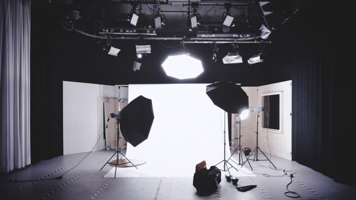 A photo shoot set up