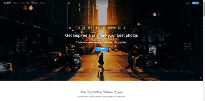 Captura de pantalla del sitio web de fotografía de 500px