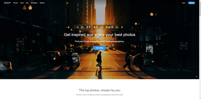 Screenshot of 500pxphotography website