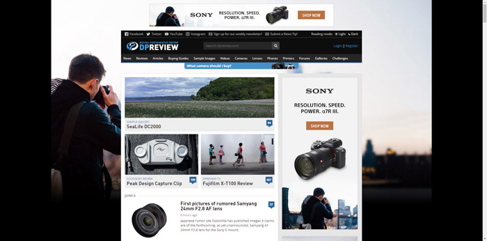 Screenshot of Digital Photography Review photography website