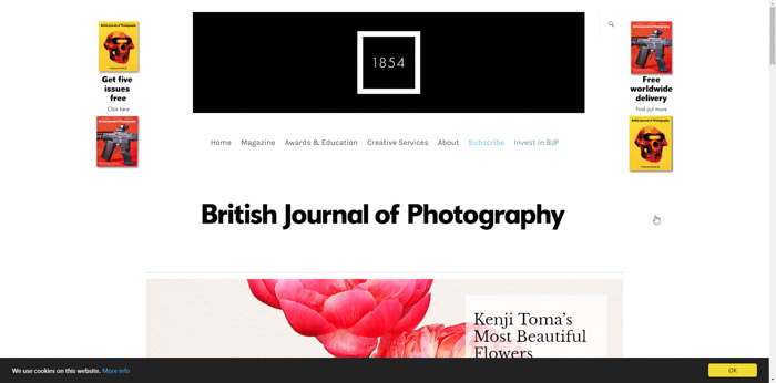 Screenshot of BJP (British Journal of Photography) photography website
