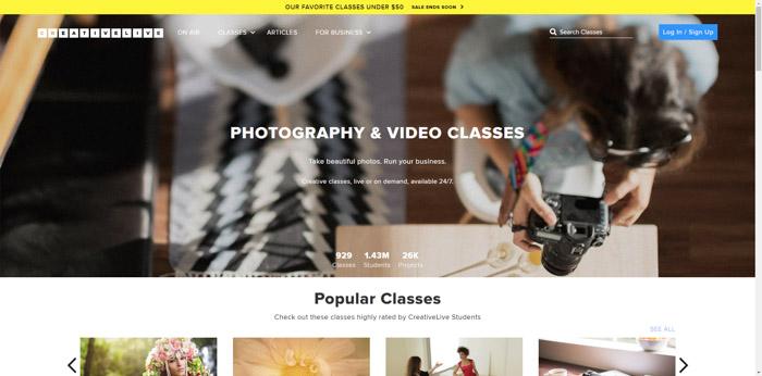 A screenshot of the creative live website