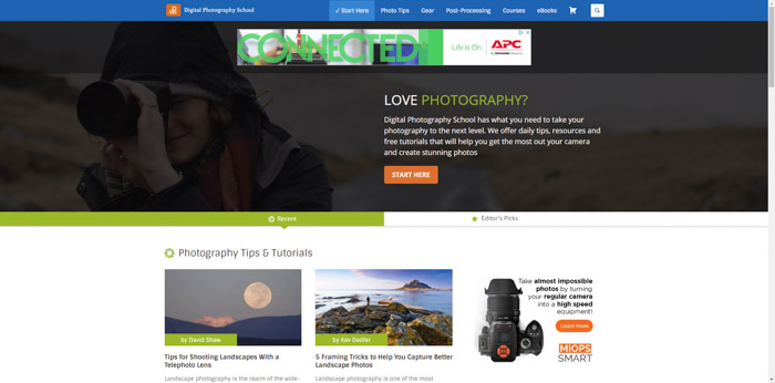 Screenshot of DPS photography websites homepage