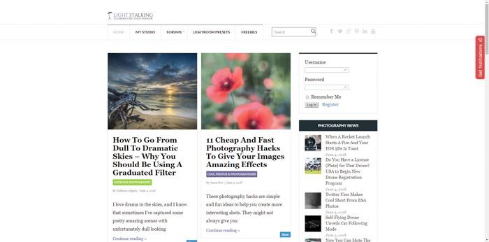 Captura de pantalla de la página de inicio de los sitios web de fotografía Lightstalking