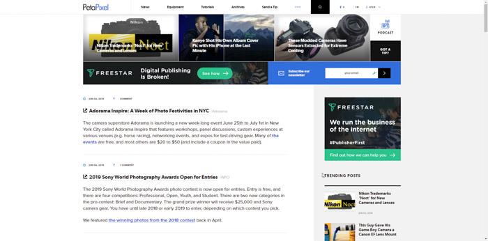 Screenshot of PetaPixelphotography website