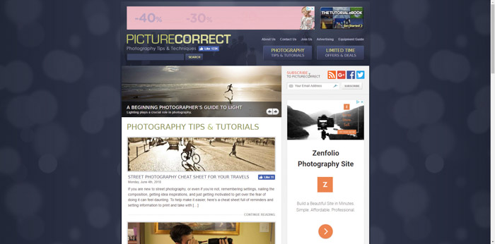 Screenshot of Picture Correct photography websites homepage