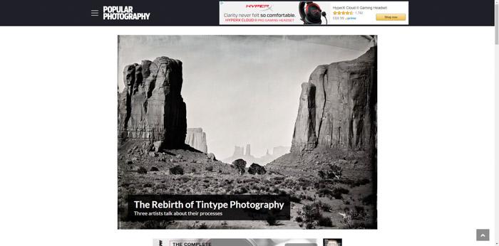 Screenshot of popularphotography websites homepage