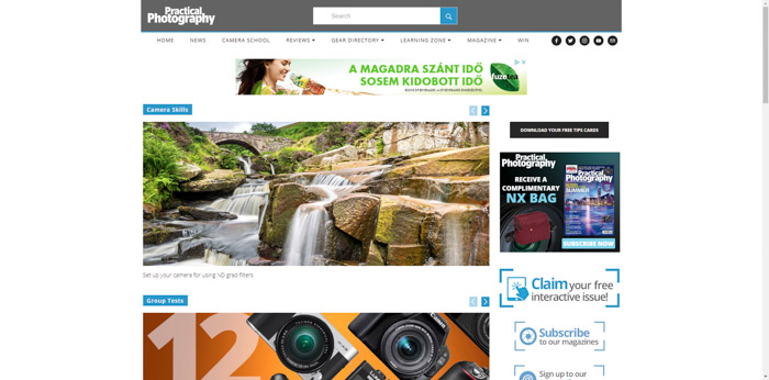 A screenshot of the Practical Photography website for photographers