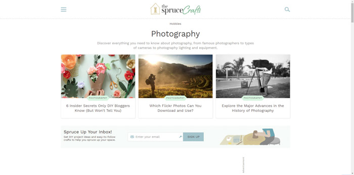 Screenshot of the Spruce photography websites homepage