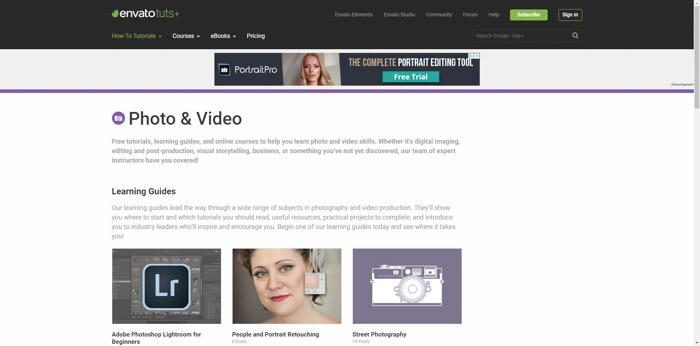 Screenshot of Tutsplus websites homepage