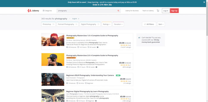 Screenshot of Udemy photography websites homepage