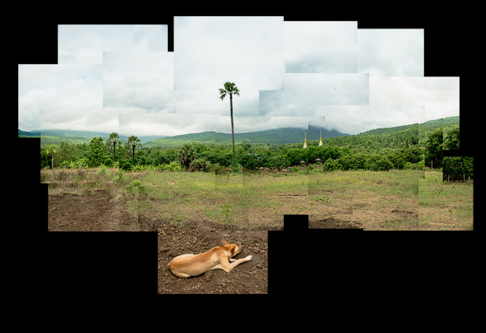 A photomontage of fields and hills in Thailand as part of a tutorial on how to make a photomontage.