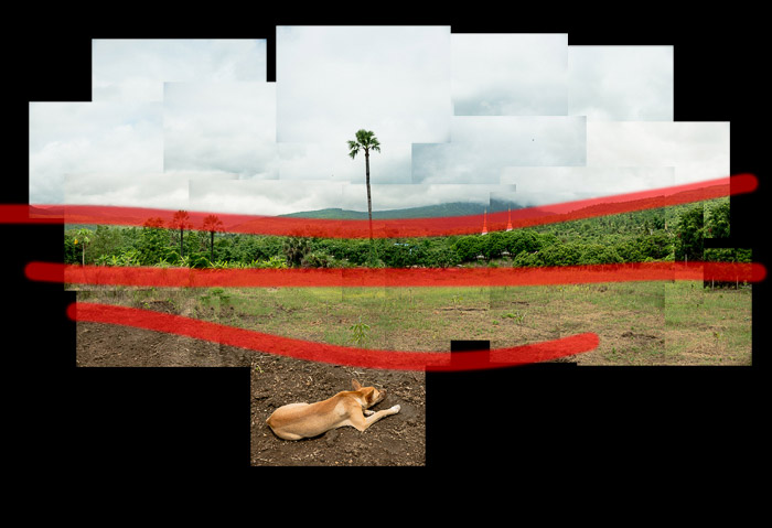 A photo montage of fields and hills in Thailand as part of a tutorial on how to make a photo montage.