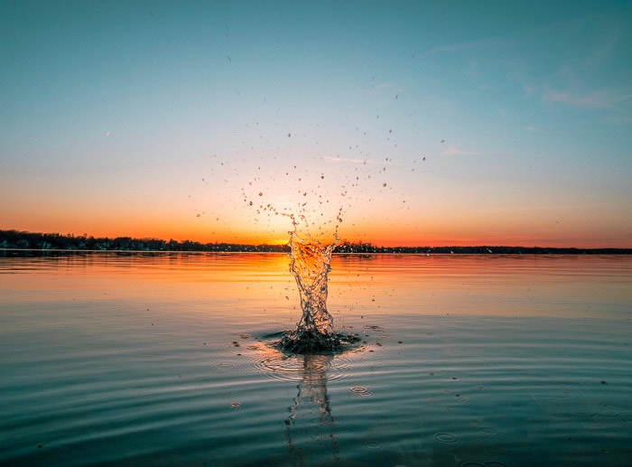 A beautiful water splash captured at sunset with a Rokinon 14mm lens