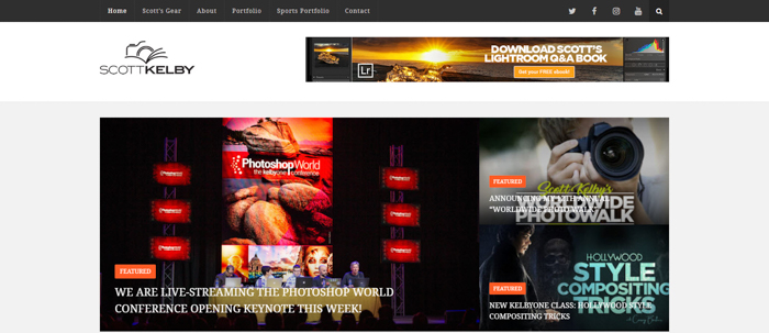 a screenshot of Scott Kelby photography website homepage