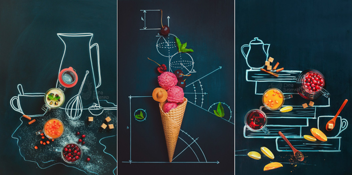 Overhead triptych of fun food photography posed on a blackboard with chalk drawings - still life photography ideas.