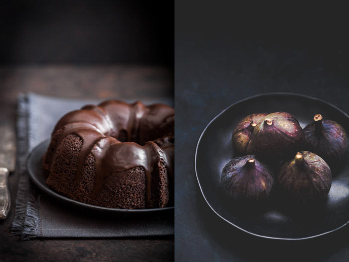 Still life food photography diptych of chocolate cake and a bowl of figs on dark background.
