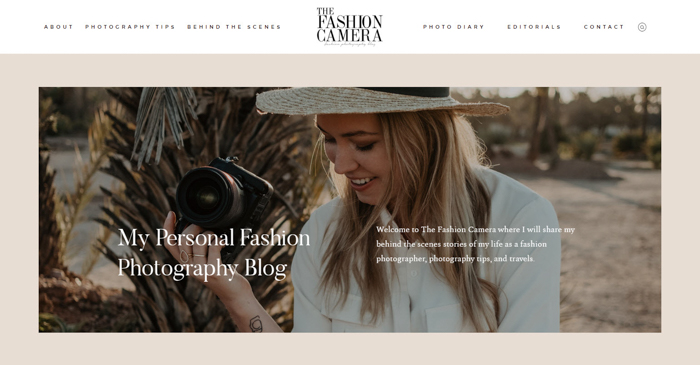a screenshot of the Fashion camera photography website homepage