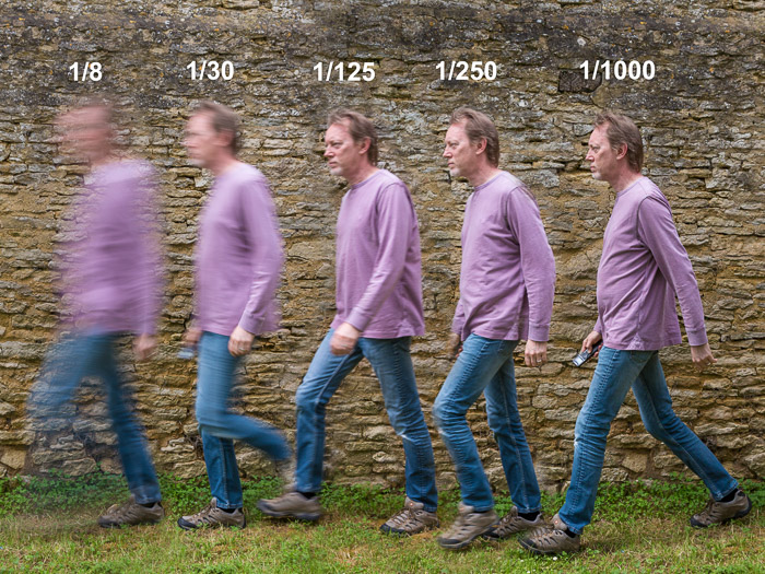 Image of the same man in purple jumper 5 times at different shutter speeds