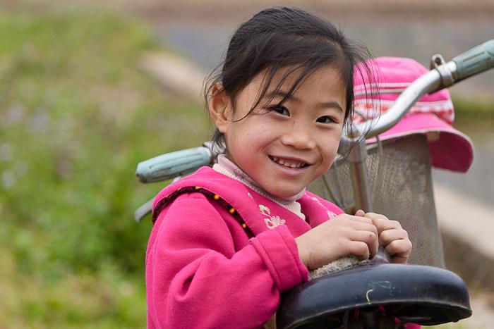 Portrait photography of a girl in minority village in Mai Chau in Vietnam,