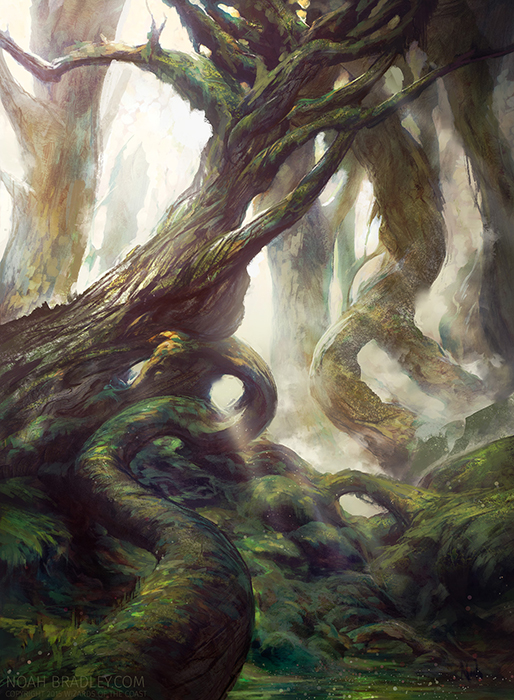 A painting of an ethereal looking twisting forest - tree photo inspiration