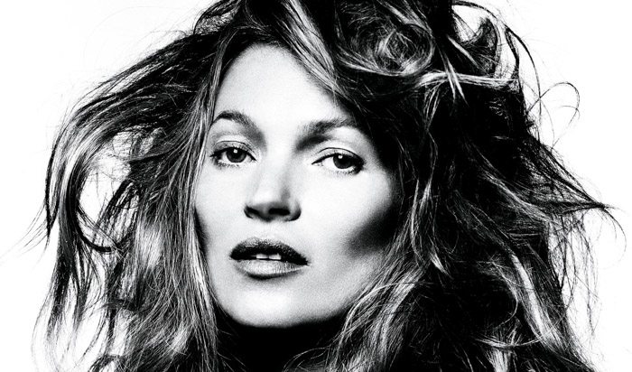 David Bailey black and white portrait of Kate Moss