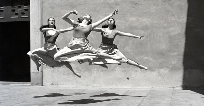 Imogen Cunningham photo of three female dancers in mid air