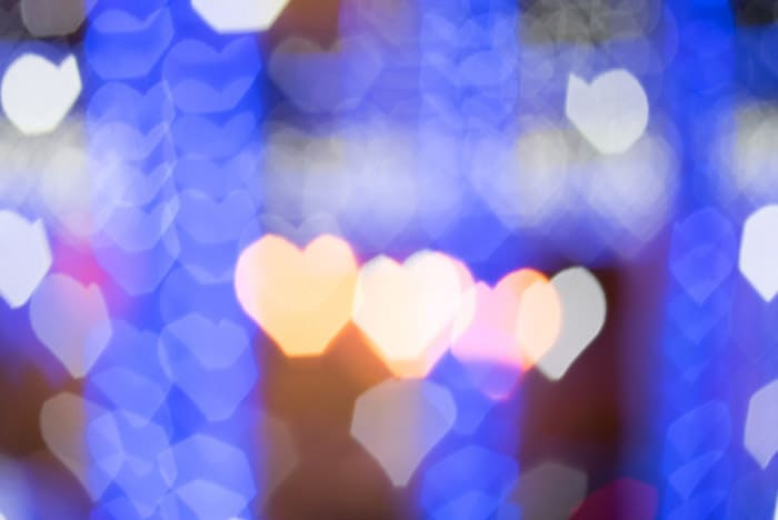 Pretty custom bokeh effect featuring blurred light in the shape of hearts