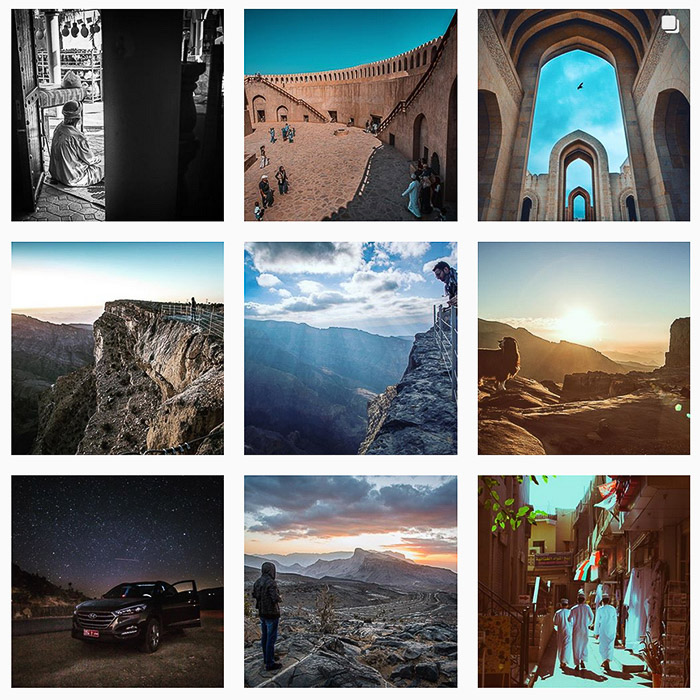 9 photo Instagram grid of travel and landscape photography shots