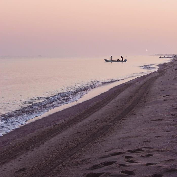 Serene evening beach photo using 1:1 aspect ratio photography