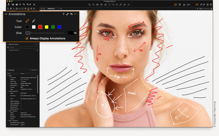 A screenshot of editing a portrait photo in Capture One Editing software