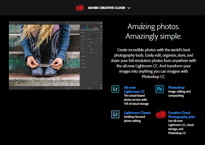 A screenshot of Adobe Creative Cloud, photo editing software