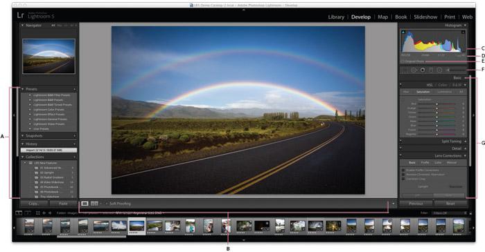 A screenshot of editing a landscape photo in adobe Lightroom. Capture One vs Lightroom.