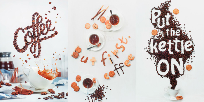 Triptych food photography shot using coffee beans and biscuits to spell the messgaes 'coffee', 'but first, coffee' and 'put the kettle on' in create food art typography