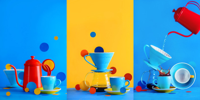 Fun coffee photography brewing equipment triptych on bright blue and yellow background