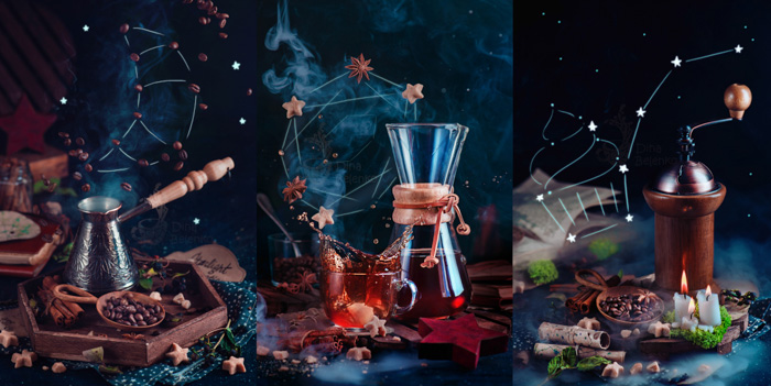 Magical coffee photography brewing equipment triptych on dark background