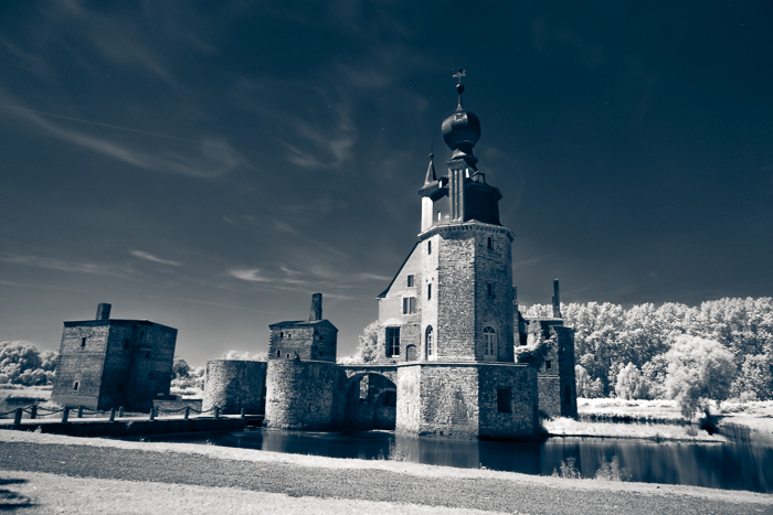 An infrared photo of a stone tower