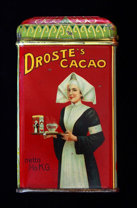 The packaging of Droste cocoa tin depicting an image designed by Jan Misset in 1904.
