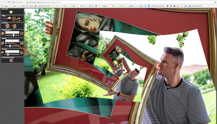 Screenshot of step four of creating a droste effect image on Photospiralysis