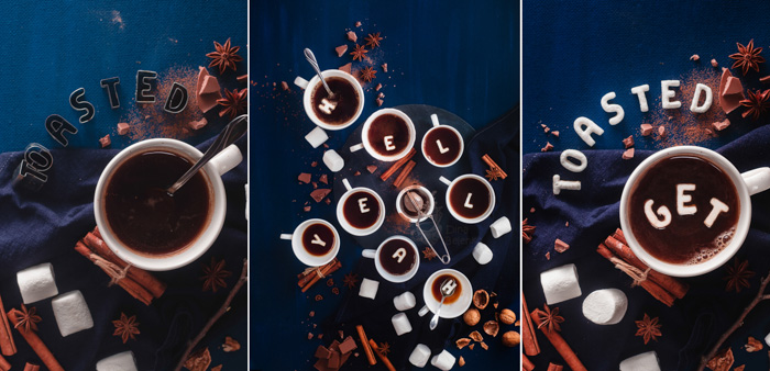 An overhead triptych featuring coffee cups, saucers, biscuits with food typography message 'coffee can handle it'.
