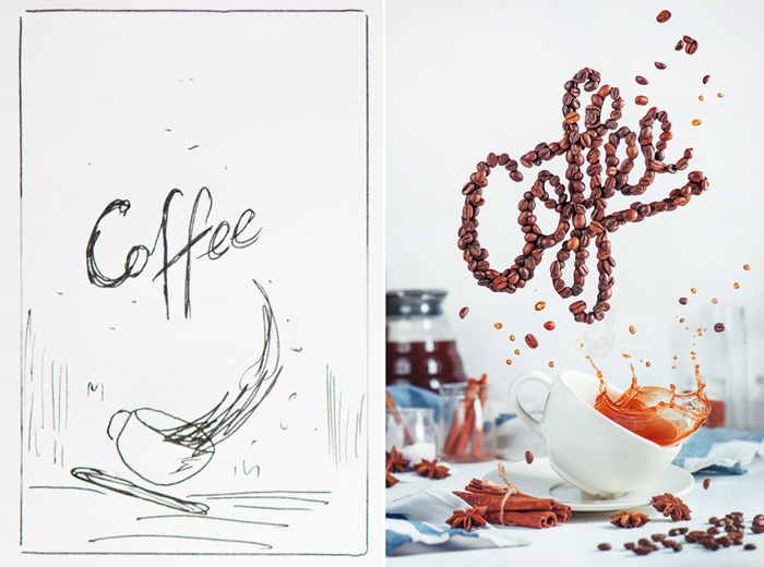 Diptych showing the sketch and finished photo of a still life food art photo with coffee and food typography