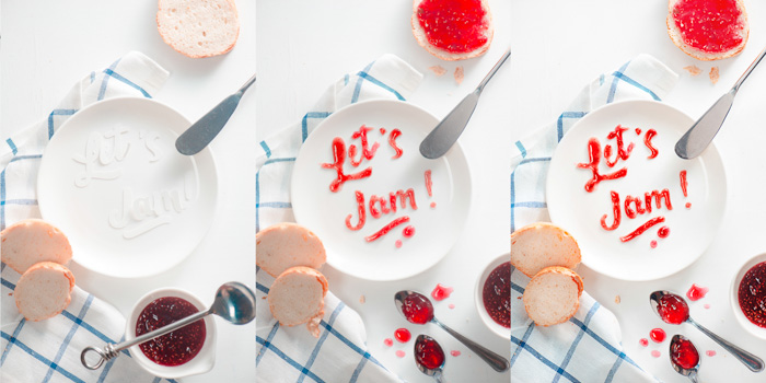 A 3 photo progression of creating a cool food art shot featuring the typography message 'lets jam' with red jam