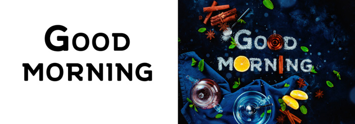A diptych with the words 'good morning' followed by the finished food art still life