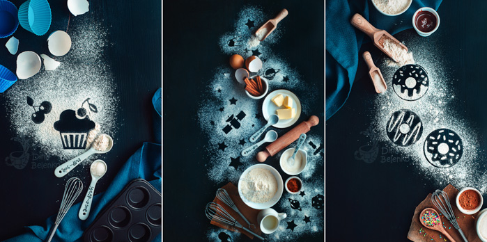 A food art triptych with silhouettes of cupcakes, fruits, stars, spaceships and doughnuts.