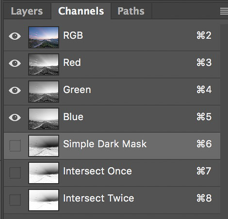 Screenshot of selecting simple dark mask to create basic luminosity masks with just one click