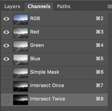 Screenshot of intersecting mask with mask to create basic luminosity masks with just one click