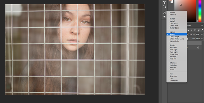 A screenshot of editing the fence cut-out portrait of a girl